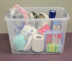 Example of some of the items needed in a severe weather safety kit