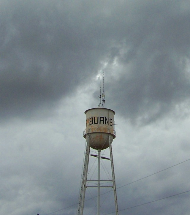 burns water tower clouds